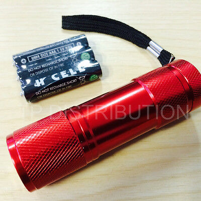 Torch 9 LED Metal in Red for Police,PCSO, Security, Ambulance, Fire & Rescue