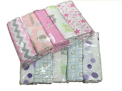 5pcs Cute Boy/Girl Desgin Large 70cm x 70cm Muslin Squares Cloths 100% Cotton