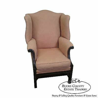 Antique 1930s Custom Mahogany Chinese Chippendale Style Wing Chair