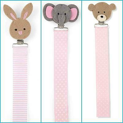 Mud Pie Pink Layette Bunny Elephant Bear Pacifier Clip - DISCONTINUED