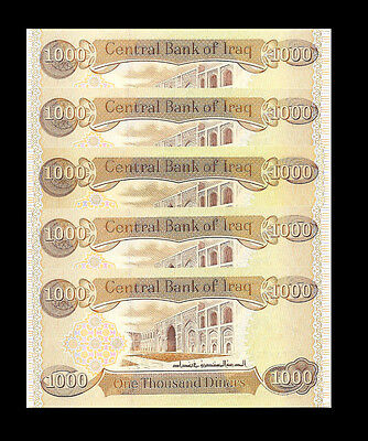 IRAQI DINAR 5,000  5 X 1,000  New Uncirculated Lot Of 5 - 5000 From New Bundle