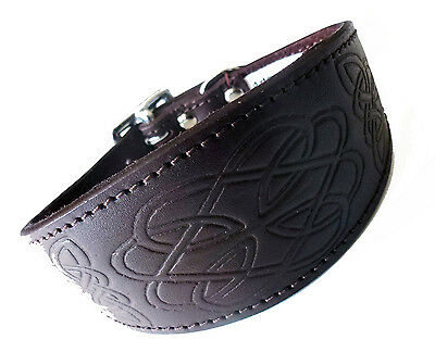 10-12 Inch Celtic Brown Italian Greyhound Dog Collar Padded Suede Backing