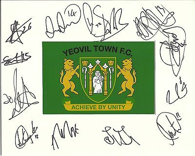 A 10 x 8 inch mount personally signed by 12 Yeovil Town players on 20.01.2015.