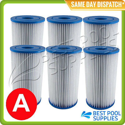 6 X Intex Type A / Krystal Clear Pool Cartridge Filter Element – Free Shipping