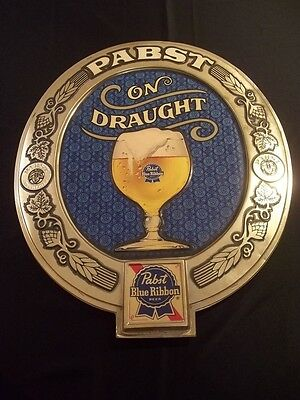 Vintage Pabst Blue Ribbon Beer On Draught Oval Plastic Wall Sign Pbr