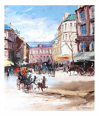 """Shalva Phachoshvili """"Horse-drawn Carriages"""" Original Oil on Canvas by the artist"""