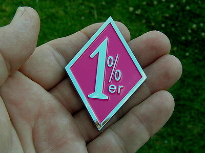 ~ 1%er EMBLEM Hot Pink & Chrome Metal Badge HIGHQUALITY Bike Fit HARLEY-DAVIDSON