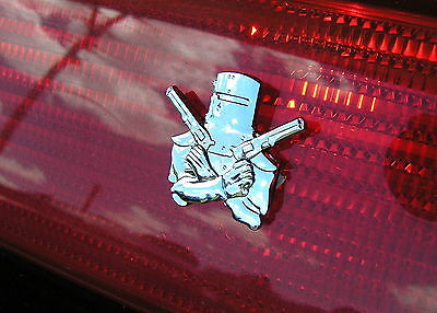 ~ NED KELLY X2 SMALL CAR TAILLIGHT EMBLEM (PAIR) Metal CAR BADGES *New* Outlaw
