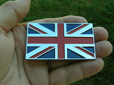 BRITISH FLAG CAR BIKE BADGE - UK Chrome Metal Emblem *NEW UNION JACK  Triumph MG