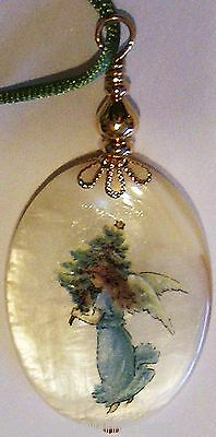 Guardian Angel White Mother Pearl Big Oval PENDANT Fob Kirsten USA Oklahoma Made