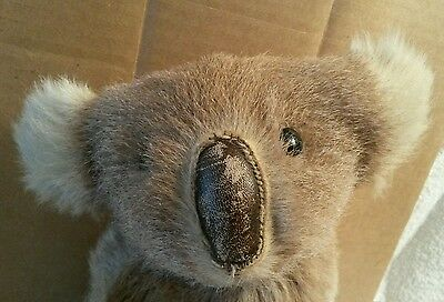 Old Antique KOALA Bear Stuffed Animal Toy Real Fur Hair Leather Nose Button Eyes