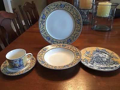 American Atelier English Toile 5 Piece China Set, 4 Settings Complete
