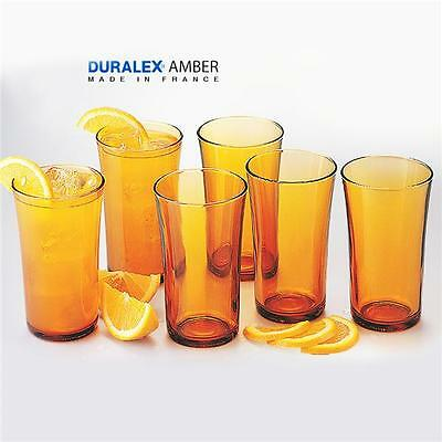 NEW COLOUR: AMBER DURALEX 280ml LATTE BEER JUICE GLASS TUMBLER SET OF 6 BRANDNEW