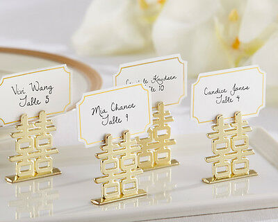 Gold Asian Oriental Double Happiness Wedding Photo Place Card Holder Favors
