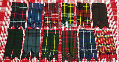 Mens Kilt Hose Sock Flashes With Garter Various Tartans Pointed Highland Wear