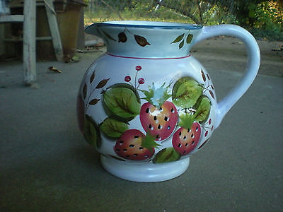 Large Heritage Black Forest Fruits 3 Quart Pitcher with Sales Sticker on Bottom