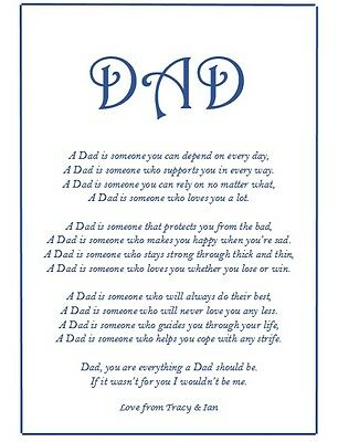 Personalised Fathers Day Gift Set Birthday For Dad ETC Poem A4 Print Bag & Card