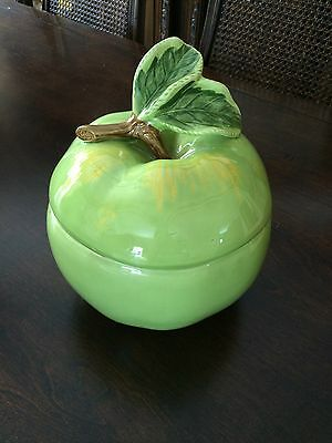 NEW Hearth and Home Designs 1991 GREEN APPLE Cookie Jar & Lid