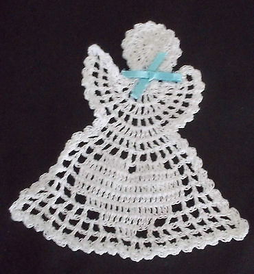 LOVELY HANDMADE CROCHET ANGEL WITH HEART AND RIBBON