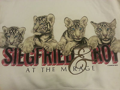 Siegfried & Roy Mirage Hotel 1993 White Tiger Long Sleeve Sweatshirt Sz Medium