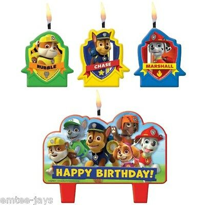 Paw Patrol Candles - Birthday - Moulded - Rubble/Chase/Marshall- 4 candles AUST!