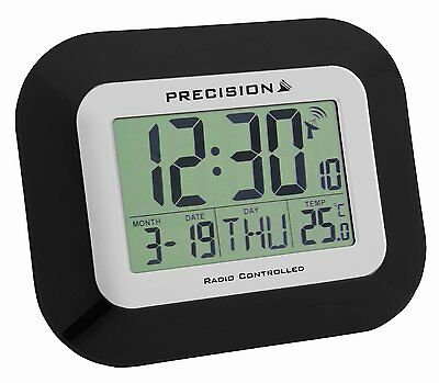 Precision Wall & Desk Clock Radio Controlled Black Date Automatic Temp PREC0097