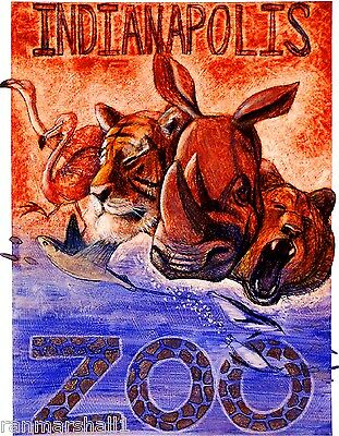 Indianapolis Indiana Zoo Rhinoceros United States Advertisement Art Poster