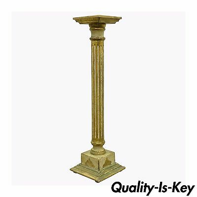 Vintage Italian Florentine White & Gold Distress Painted Column Pedestal Stand