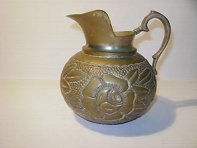 VINTAGE MIDDLE EASTERN EMBOSSED DESIGN WIDE LIP BRASS/BRONZE WATER PITCHER