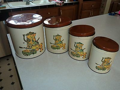 VTG NESTING CANISTERS KITCHEN SCENE LOVINGLY USED DECOWARE GOOD PATINA