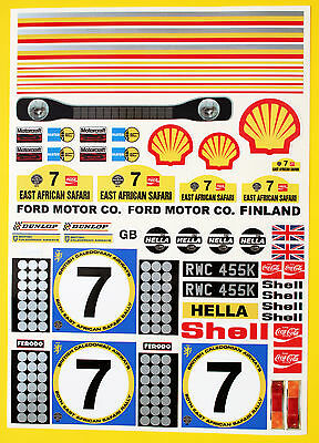 RC Tamiya Escort Mk1 Hannu Mikkola 1972 SAFARI RALLY winner stickers decal