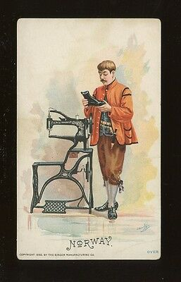 Norway Social History SEWING Singer ADVERT chromo litho card c1900s?