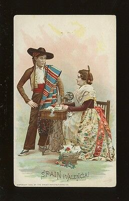 Spain Valencia Social History SEWING Singer ADVERT chromo litho card c1900s?