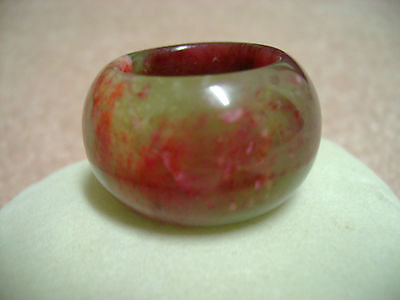 THICK NATURAL TRI COLOR JADE RING