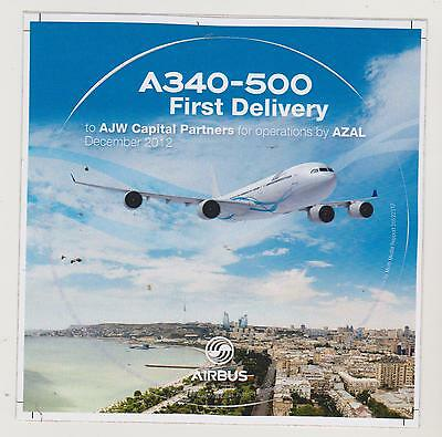 Airbus Sticker A340-500 First Delivery to AJW Capital Partners for op, oversize