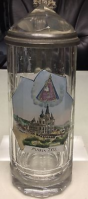 ** EARLY VINTAGE GLASS PEWTER GERMAN STEIN PRISM LID HAND PAINTED MARIA ZELL **