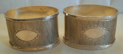 Pair Of Vintage 800 Silver Guilloche Napkin Rings - W/ Cartouche But No Initials