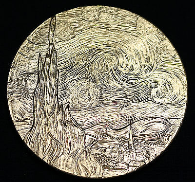 "Vincent van Gogh ""Starry Night"" gold on bronze medallion by David Cornell"