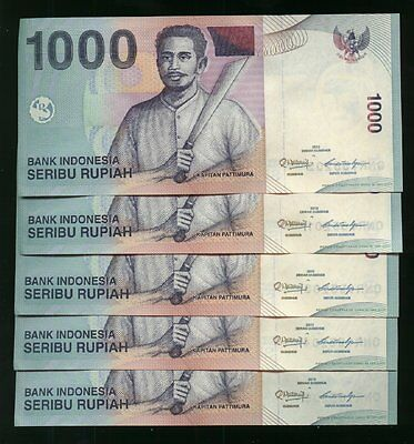 5000 Indonesian Rupiah 5 x 1,000 Notes Foreign Money  Lot Of 5 New Notes