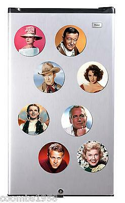 Hollywood Iconic Actors Of Golden Age High Gloss Round Fridge Magnet