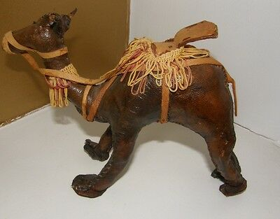 Vintage Leather Hand stitched Camel Toy. USED