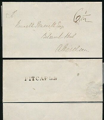 SCOTLAND PRE STAMP PITCAPLE ONE LINE NAMESTAMP on MOURNING LETTERSHEET ABERDEEN