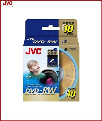 JVC DVD-RW 1.4GB 8cm 30min Rewritable Camcorder Mini DVD Discs Spindle Pack 10