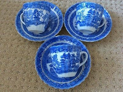 Foley Willow Pattern Antique Cups And Saucers X 3 English China
