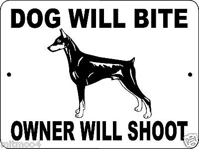 "DOBERMAN PINSCHER  DOG SIGN,9""x12"" ALUMINUM,Guard Dog,No Trespassing,Dogs,DWBOWS"