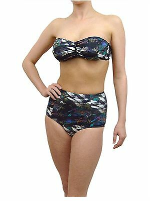 6a25cc05ade64 Vintage Retro High Waisted Bikini Set Brief   Top Urban Outfitters Abstract  Mult