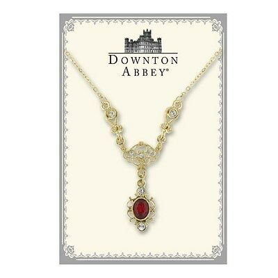 The Downton Abbey Collection Ruby Red Jewel Gold Drop Necklace Free Ship 17511