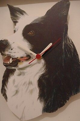 Border Collie Dog novelty wooden wall clock British made from Lark Rise