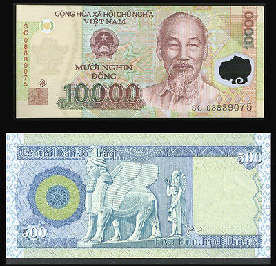 500 NEW IRAQI DINAR -  And Receive FREE 10,000 Viet Nam Dong  -  Lot Of 1 Ea.