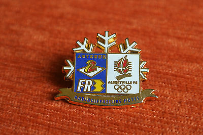 10851 Pin's Pins Jo Albertville 92 Olympic Games Tele Antenne 2 Fr3 Flocon Or